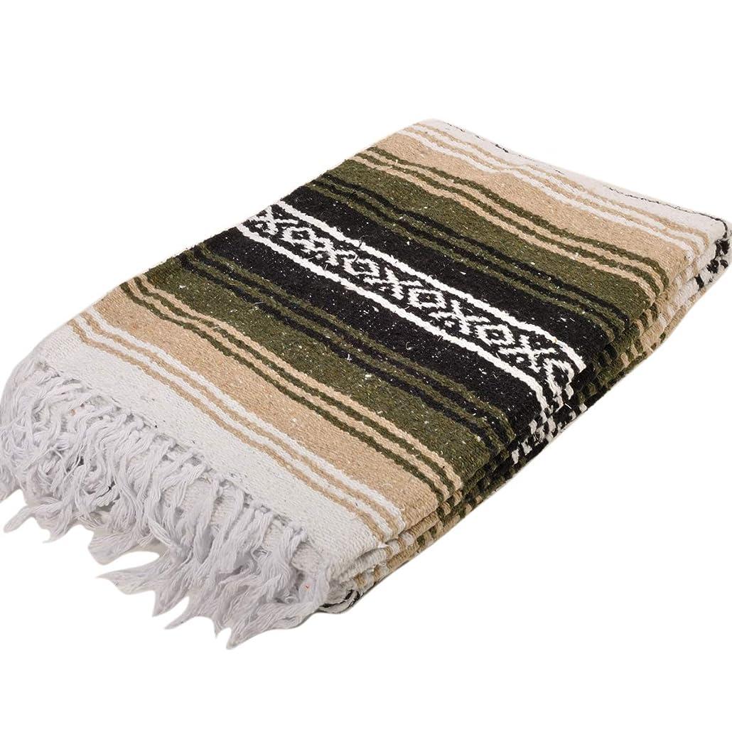 注文さらに端モリーナインディアンブランケット (Molina Indian Blanket) Heavy Weight Stripe Falza Blanket/ヘビーウェイトストライプファルサブランケット[約213×150cm]OLIVE/BEIGE