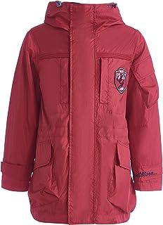 Parka para niño, chaqueta de entretiempo, para niños, color rojo, resistente al agua, con capucha, 8-13 años, 134-164 cm