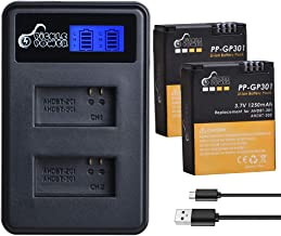 Replacement GoPro Hero 3 Batteries, Pickle Power Battery Pack (x2) and LCD USB Dual Charger Compatible with GoPro Hero3, Hero3+ and GoPro AHDBT-201, AHDBT-301, AHDBT-302, AHBBP-301(1250mAh, 3.7V)