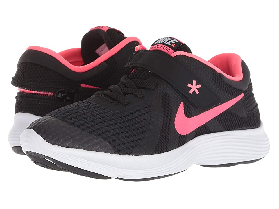Nike Kids Revolution 4 FlyEase (Little Kid) (Black/Racer Pink/White) Kids Shoes
