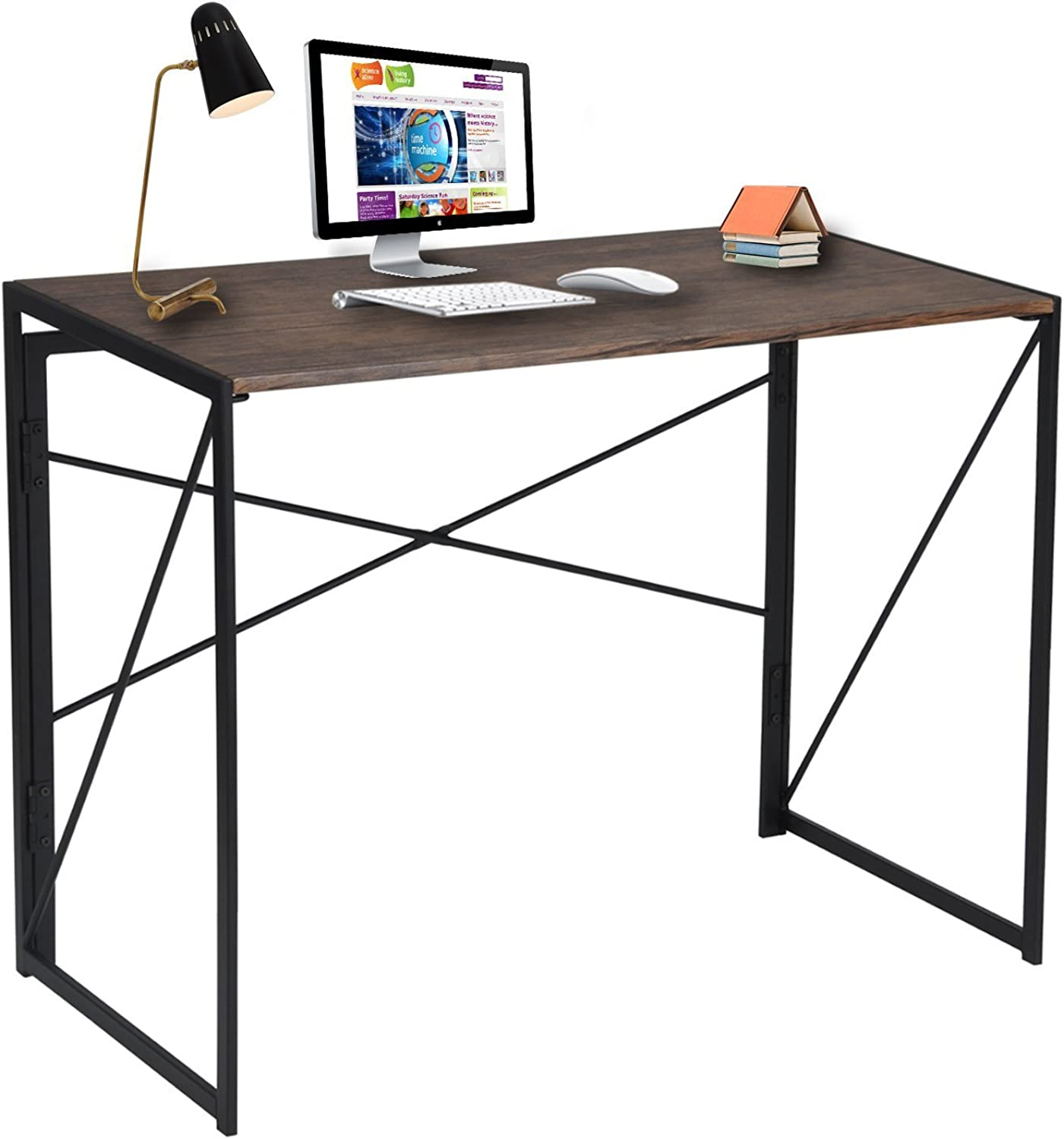 Folding - Computer Desk, Foldable Design, No-Assembly Study Home Office Desk, 100 x 50 x 75 cm, Brown