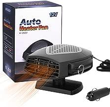 12V Portable Car Heater,Automobile Windscreen Fan, Windshield Car Heater, Cooling Car Fan, Fast Heating Defrost Defogger, Auto Ceramic Heater Fan 3-Outlet Plug in Cigarette Lighter (Black)
