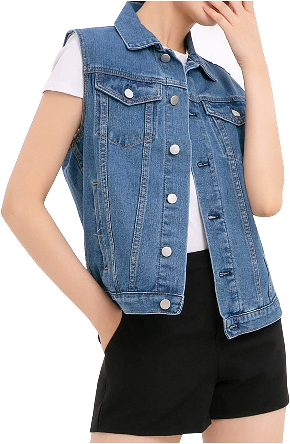 Ladyful Wome's Distressed Ripped Vest レビューを書けば送料当店負担 Denim Sleeveless 新生活 Motocycle