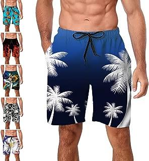 Freshhoodies Mens Hawaiian Swim Trunks Coconut Palm Tree Beach Board Shorts with Mesh Lining Swimwear Bathing Suits