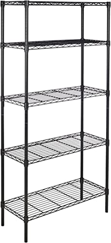 Amazon Basics 5-Shelf Adjustable, Heavy Duty Storage Shelving Unit (350 lbs loading capacity per shelf), Steel Organi...