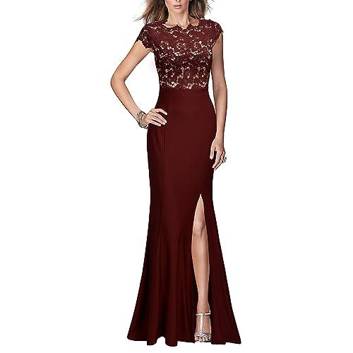d7e44e7bbcf REPHYLLIS Women s Retro Floral Lace Vintage Wedding Maxi Formal Long Dress