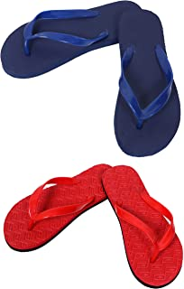 Red And Dark Blue Combo Women's House Slippers