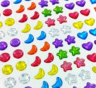 Prextex 4 Cards Over 375 Pairs of Jewel Earrings! Assorted Designs and Colors New Party Favors, Scrapbook Gems, Decorate Cards, Sticker Jewels Stick on Jewels