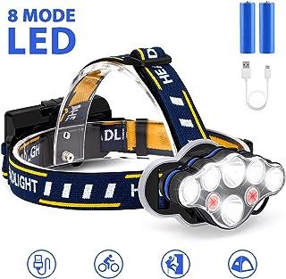 充電式ヘッドランプ、8 LEDヘッドランプ懐中電灯最も明るい18000ルーメン8モード防水LEDヘッドランプヘッドライト、屋外キャンプ用釣りフィッシングカー修理ハイキングサイクリング