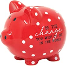 Dicksons Be The Change in The World Red Polka Dot 5 x 5 Glossy Ceramic Toy Piggy Bank