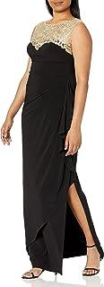 Alex Evenings Women's Long Column Dress with Sweetheart Illusion Neckline