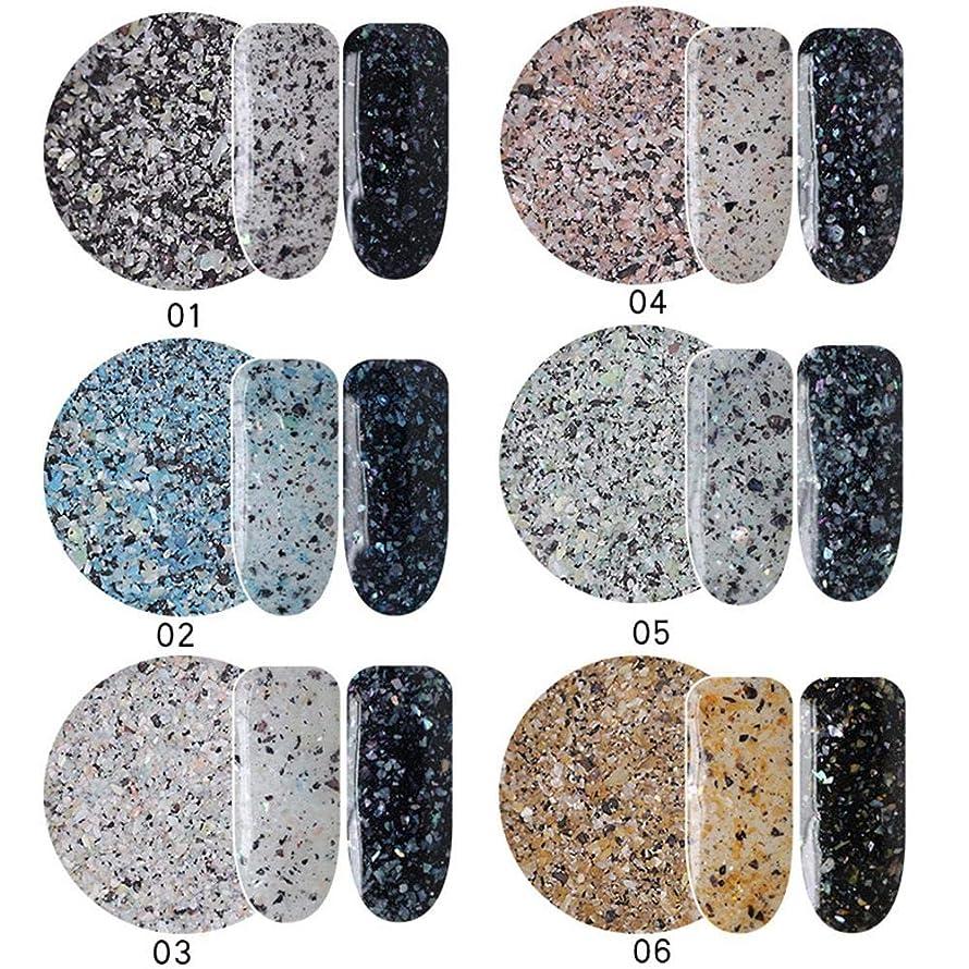 約束する石のコーンウォールネイルパウダー 6色セット ネイルアートパーツ 大理石柄 ネイルDIY ネイルデコレーション ネイルアートアクセサリー 輝くネイル 美しい 人気なマニキュアセット junexi
