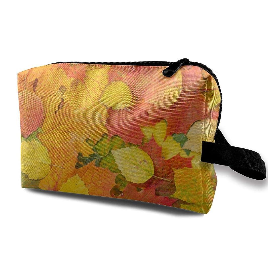 タイル持っているデッドAutumn Foliage Nature Leaves 収納ポーチ 化粧ポーチ 大容量 軽量 耐久性 ハンドル付持ち運び便利。入れ 自宅?出張?旅行?アウトドア撮影などに対応。メンズ レディース トラベルグッズ