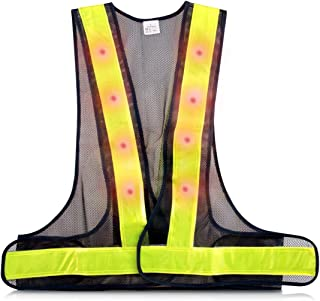 kwmobile LED Light Safety Vest - High Visibility Waistcoat Traffic Outdoor Night Warning Reflector Clothing with Reflective Stripes and 16 LED Lights