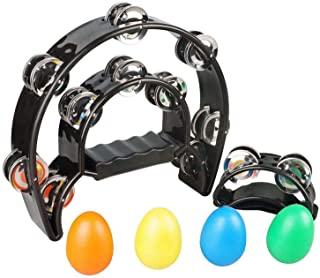 """SUNYIN Double Row Tambourine، Metal Jingles Hand Held Percussion 9 """"Hand Tambourine and Foot Tambourine Percussion with Egg Shaker Musical Instrument"""