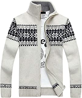 Mens Full-Zip Cardigan Sweater Stand Collar Long Sleeve Knitted Cardigans