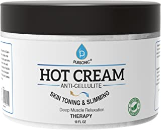 Pursonic Anti Cellulite & Muscle Relaxation Hot Cream, Diminish the Appearance Of Varicose Veins, Improves Skin Texture & Tightness, Softens & Hydrates. Made With All Natural Ingredients