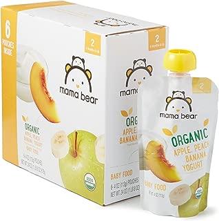 Amazon Brand - Mama Bear Organic Baby Food, Stage 2, Apple Peach Banana Yogurt, 4 Ounce Pouch (Pack of 12)