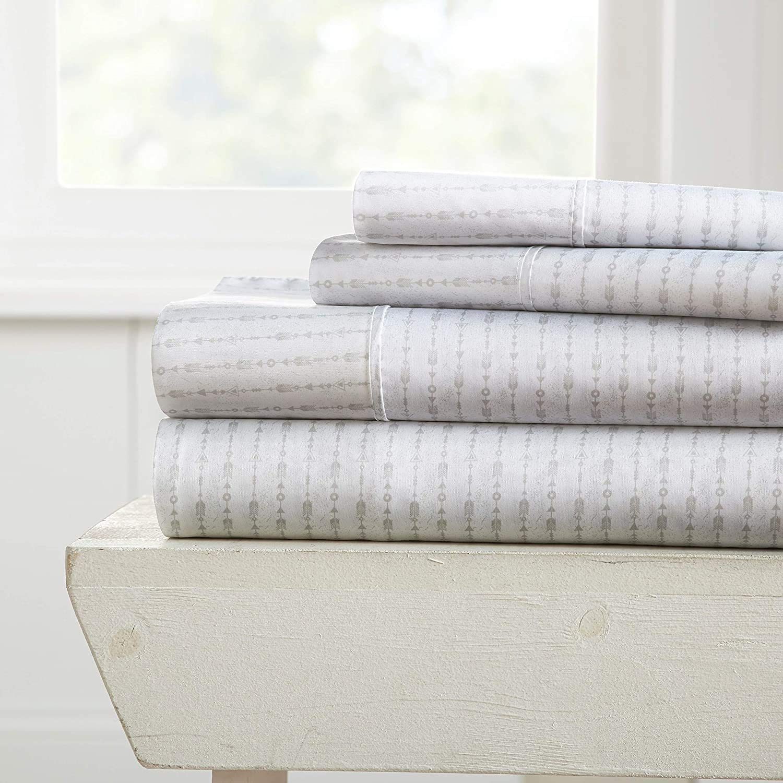 Linen Market Premium Pattern 4 Piece Bed Sheet Set, Queen, Beaded Arrows Light Gray