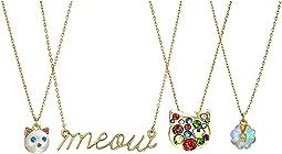 Cat Pendant Necklace Set of 4