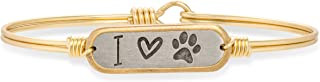 I Love Paw Print Bangle Bracelet for Women Made in USA