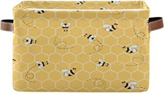 AUUXVA Ombra Storage Basket Yellow Honeycomb Beehive Geometric Pattern Storage Cube Box Durable Canvas Collapsible Toy Bas...