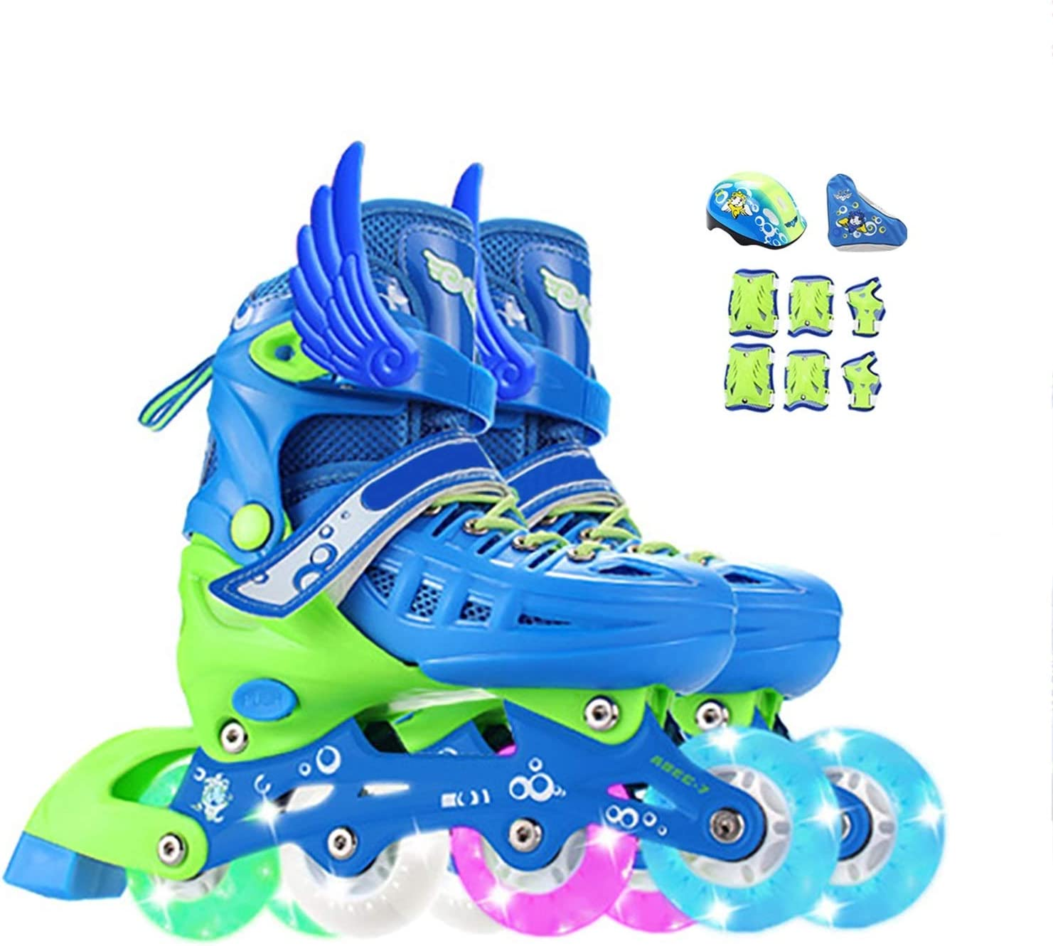 Max 70% OFF mfw@wewe Adjustable Inline Skates for with Wheels Kids Light SEAL limited product Up