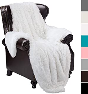junovo Super Soft Shaggy Longfur Faux Fur Blanket, Fuzzy Throw Blanket for Bed, Fluffy Cozy Plush Light Blanket, Washable Warm Furry Throw Blanket for Couch Sofa Chair Home Decor, 50x60 Pure White