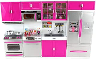 "Deluxe Modern Kitchen' Battery Operated Toy Kitchen Playset Lights and Sound, Perfect for Use with 11.5"" Tall Dolls"