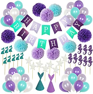 Mermaid Theme Birthday Decorations Party Supplies,1 Happy Birthday Banner,2 Mermaid Party Hats,9 Pom Poms Flowers,24 Cupcake Toppers,40 Pearlescent Balloons for Boy&Girl 1st Birthday Sign Party