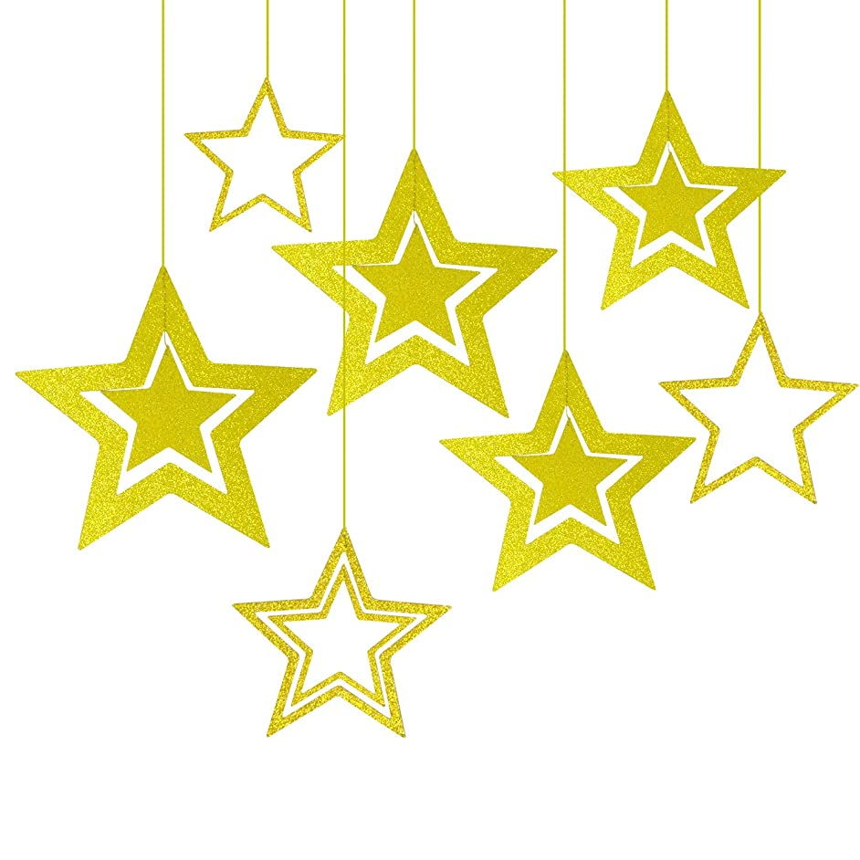 Honbay 2 Sets of Glitter Star Hanging Decorations for Birthday, Wedding, Party, Baby Shower, Bridal Shower, Christmas and More - 7pcs/Set (Gold)