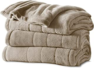 Sunbeam Heated Blanket | Microplush, 10 Heat Settings, Mushroom, Twin - BSM9KTS-R772-16A00