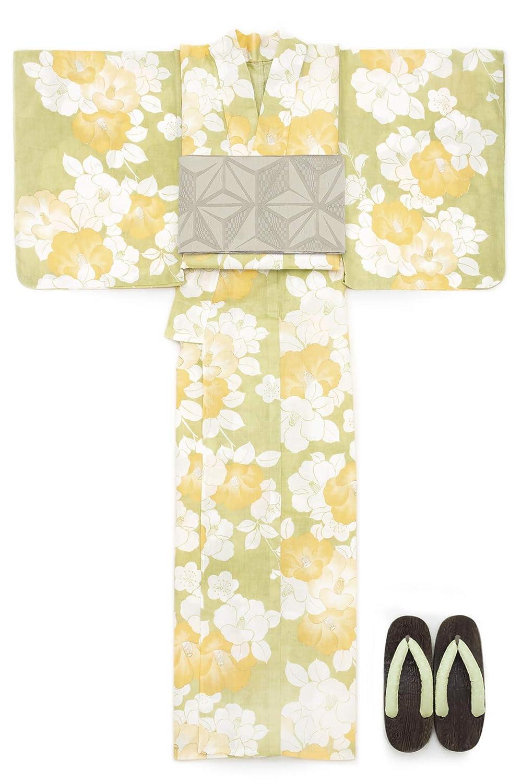 (ソウビエン) 浴衣 セット レディース 黄緑色 イエローグリーン 椿 つばき 花柄 ラメ 綿麻 手捺染 手縫い 兵児帯 マクレ ボヌールセゾン