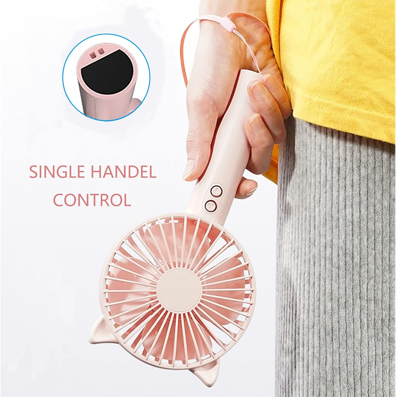 Mini Handheld Fan,Quiet Personal Portable Fan with 3 Speed, Small Desk Fan with USB Rechargeable Battery, Multifunction USB Fan with Night Light,Table Fan With Base to Put the Phone,for Outdoor,Travel, School, Home, Office (Dark Blue)