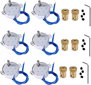 6PCS Turntable motor Synchronous Synchron Motor 50/60Hz AC 100~127V CCW/CW 4W 5-6RPM/MIN CCW/CW with 7mm Flexible Coupling Connector For Cup Turner,Hand-Made, School Project, Model (5-6RPM)