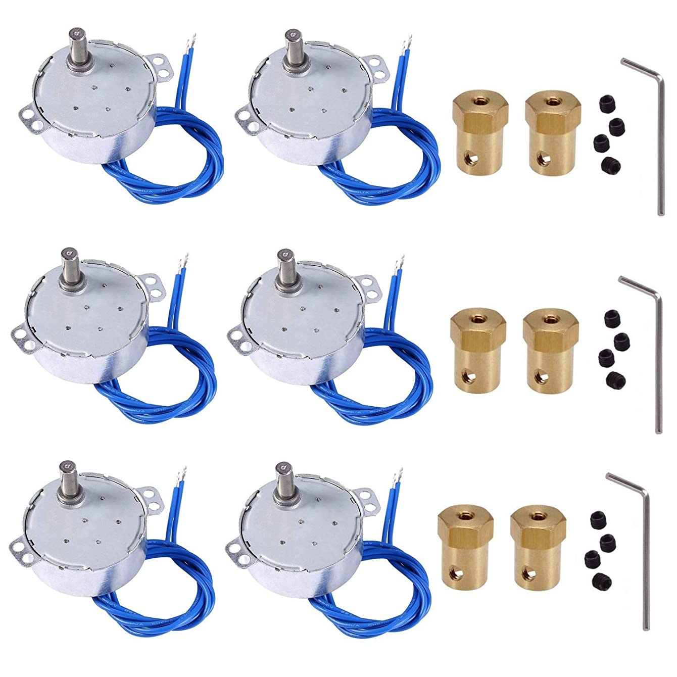 6PCS Turntable motor Synchronous Synchron Motor 50/60Hz AC 100~127V CCW/CW 4W 2.5-3RPM/MIN CCW/CW with 7mm Flexible Coupling Connector For Cup Turner,Hand-Made, School Project, Model (2.5-3RPM)