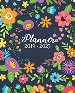 "2019-2023 Planner: Monthly Schedule Organizer, 60 Months Calendar Planner Agenda with Holidays 8"" X 10"" Cute Colorful Flow..."