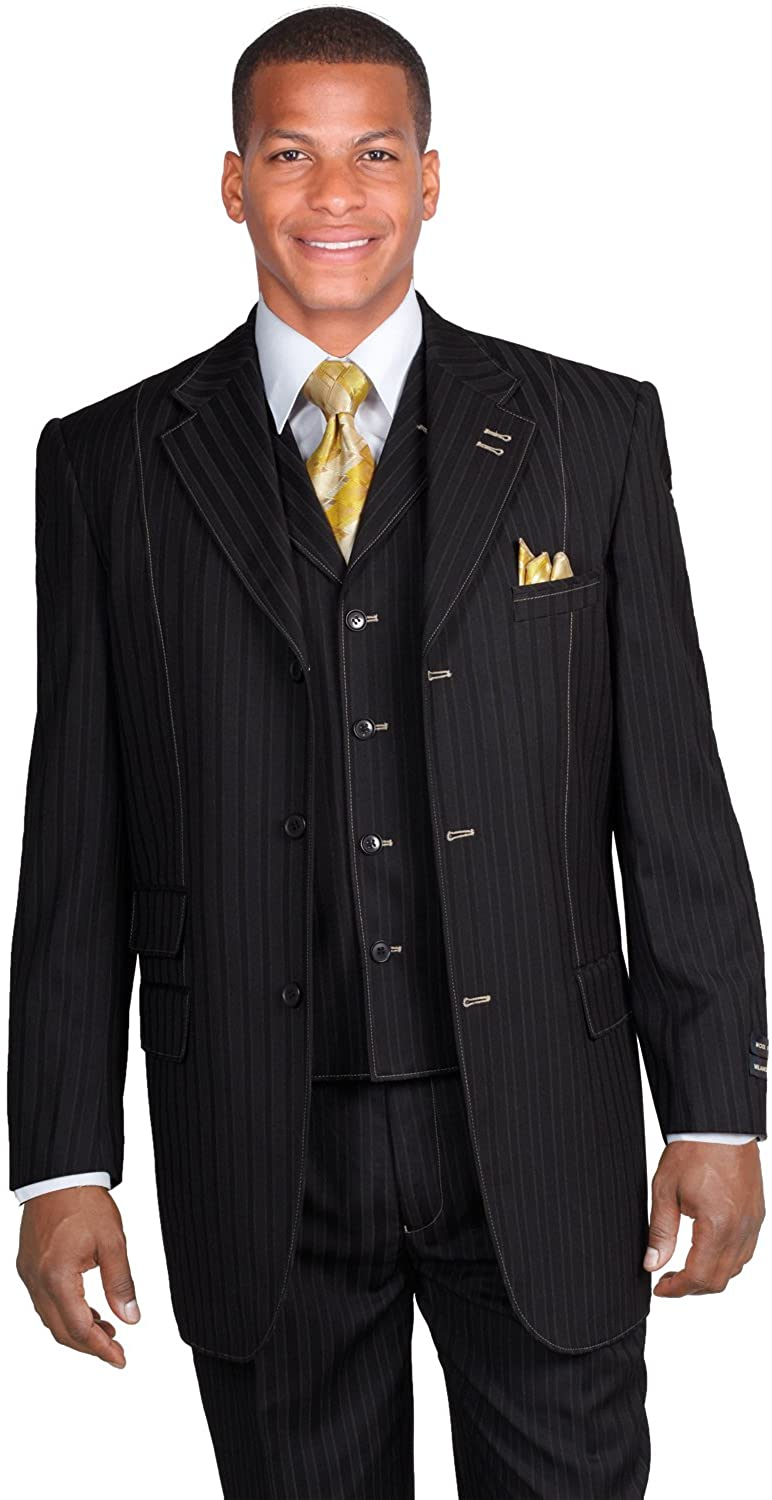 National products Milano Moda Safety and trust New Men's 3 Piece Classic Suit S Stripes Elegant