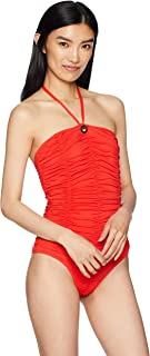 10 Crosby Derek Lam Women's Ruched Bandeau One-Piece Swim Suit with Removable Cups