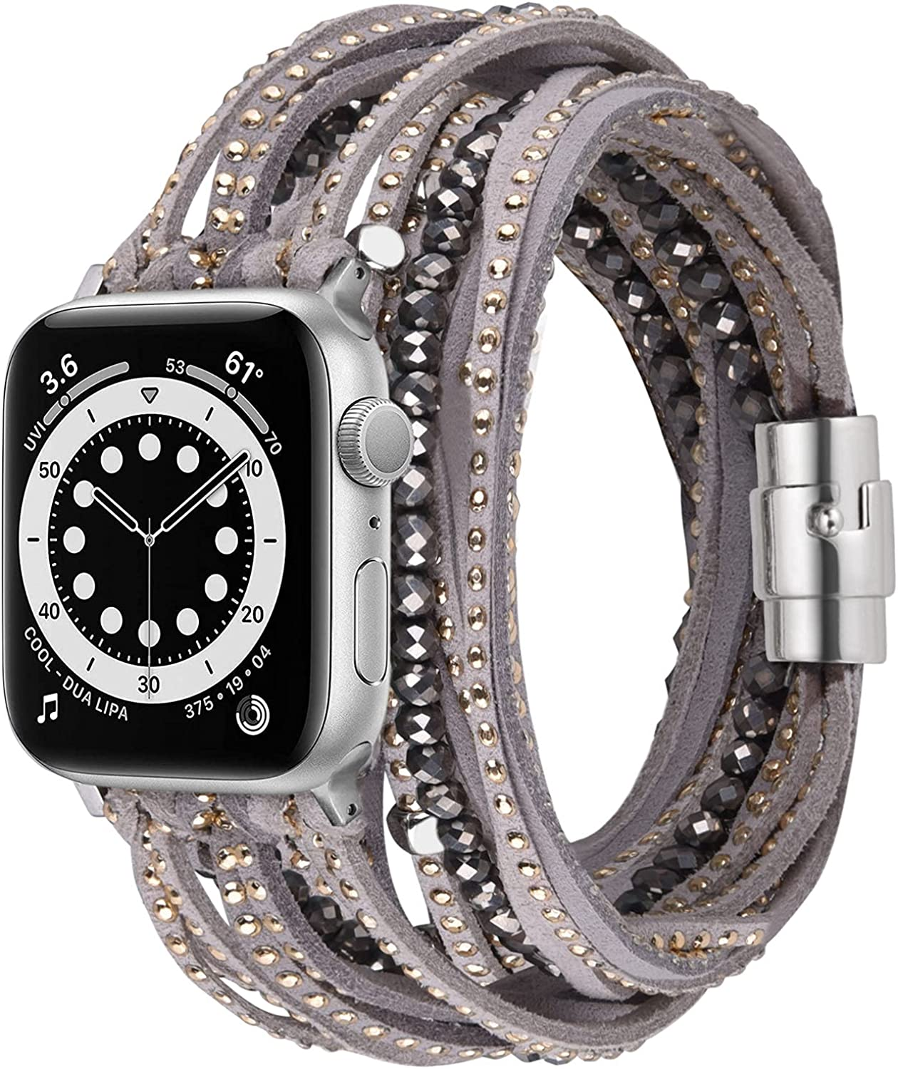 V-MORO Compatible with Apple Watch Bands Multilayer Wrap Bracelets for Women Girl Suede Leather with Handmade Bead Strap Replacement for iWatch Series 7/6/5/4/3/2/1/SE,41/40/38/45/44/42mm