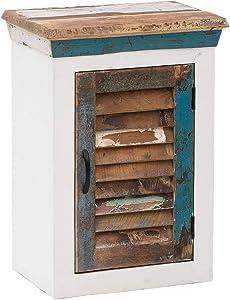 Woodkings® Bad Hängeschrank Perth weiß recyceltes Holz bunt rustikal massiv Badmöbel Massivholz Badezimmer Badezimmerschrank Wandschrank