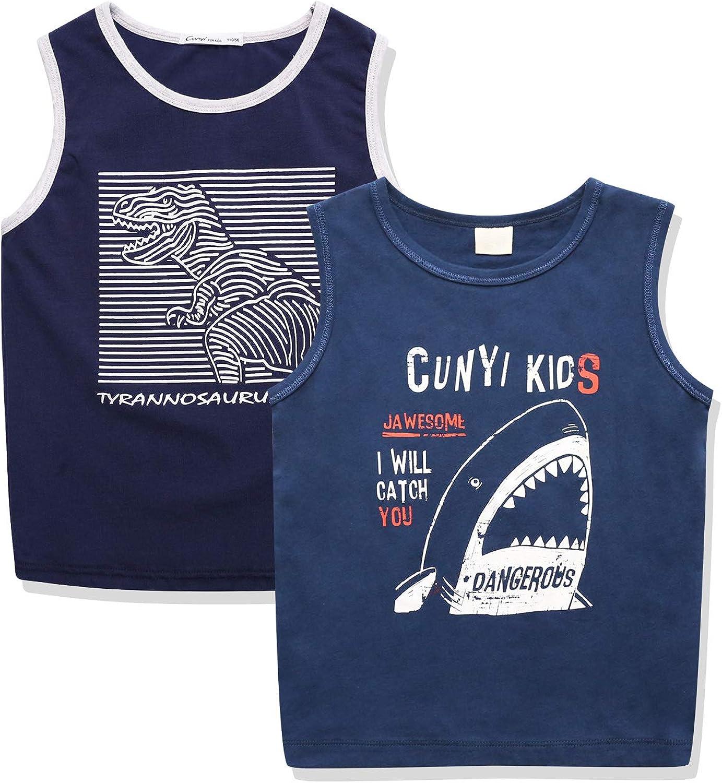 CUNYI Boys' 2 Pack Active Tank Tops Sleveless Tee Shirts