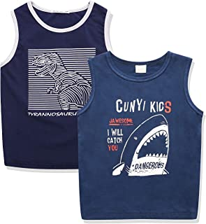 CUNYI Boys' 2 Pack Active Tank Tops Sleveless Tee Shirts