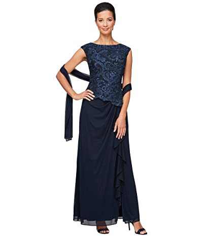 Alex Evenings Long Sleeveless Embroidered Mock Dress with Ruched Skirt Detail and Lace Bodice