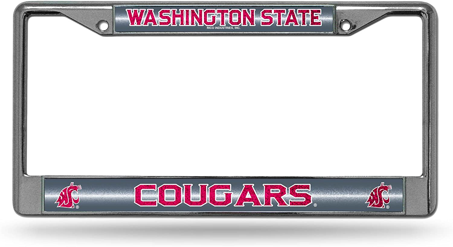 NCAA Rico Industries  Bling Chrome License Plate Frame with Glitter Accent Fresno State Bulldogs