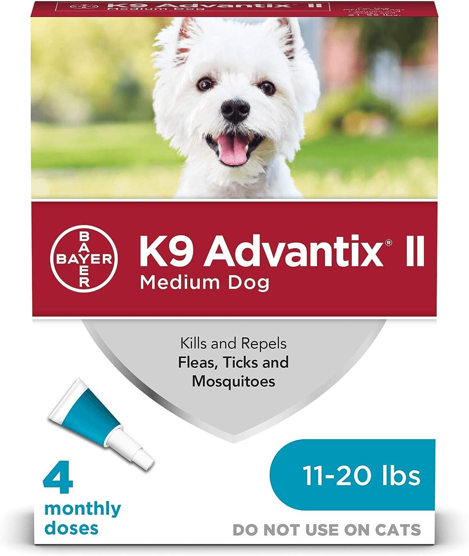 K9 Advantix II Flea and Tick Prevention for Medium Dogs 4-Pack, 11-20 Pounds: Pet Supplies