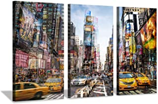 Hardy Gallery Abstract NYC Cityscape Canvas Artwork: NY Times Square Painting Wall Art Print on Canvas for Office (26'' x 16'' x 3 Panels)