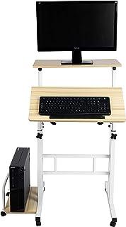 Mind Reader SDROLL-WHT Mobile Sitting, Standing Desk Rolling Reversible Home Office Laptop Workstation with Side Storage, ...