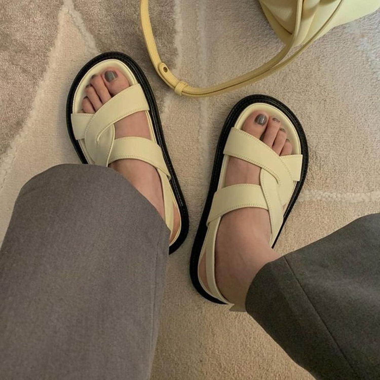 DaVanck Women's Sandals 2021 Summer Flat Open Toe Sandals Women Fashion Casual Comfortable Roman Style Sandals Women Light Yellow