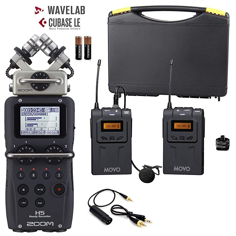 Zoom H5 4-Track Handy Recorder Bundle with Movo UHF Wireless Lavalier Microphone System
